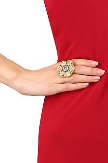Gold Plated Hexagon Shape Ring