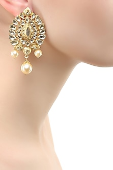 Gold finish glass stone and pearl earrings
