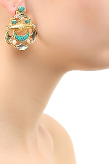 Gold plated turquoise and white glass stone abstract earrings