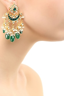 Gold finish emerald stone crescent earrings