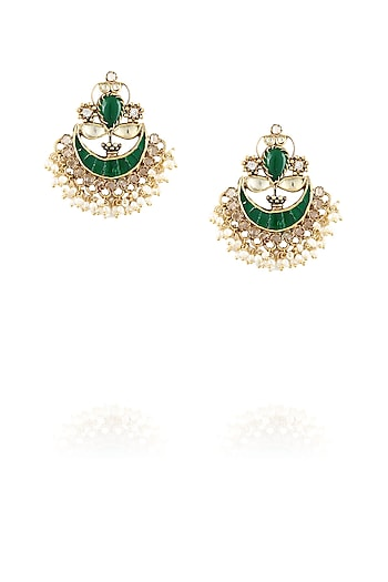 Gold finish emerald stone and pearls crescent earrings by Amrapali