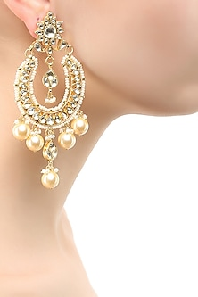 Gold finish crystal and pearl U shape earrings