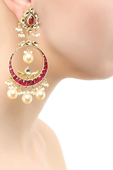 Gold finish pink glass stones chandbali earrings
