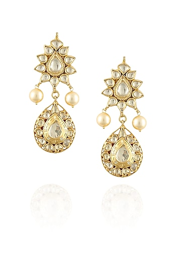 Gold finish crystals tear drop earrings by Amrapali