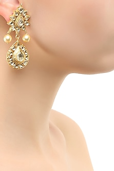 Gold finish crystals tear drop earrings