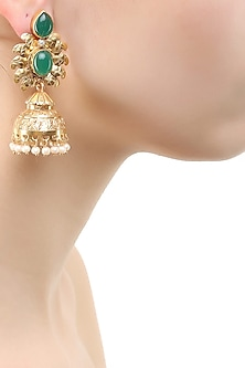 Gold finish emerald green glass stone earrings