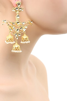 Gold finish oversized chandelier earrings