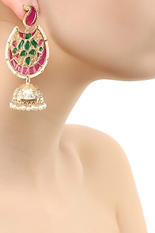 Gold finish crescent earrings with pearl jhumki drop