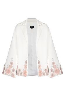 Off White Embroidered Jacket by AGT by Amit GT