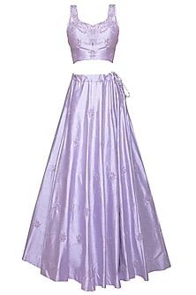 Mauve Embroidered Ruffled Lehenga Set by AGT by Amit GT