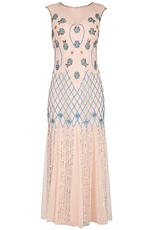 Peach Embroidered Gown by AGT by Amit GT