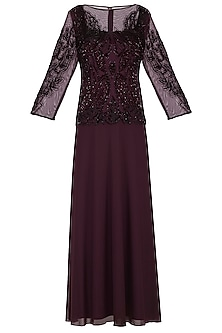 Maroon Embroidered Gown by AGT by Amit GT