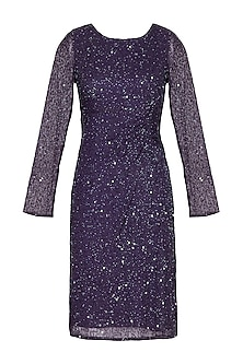 Purple Embroidered Draped Dress by AGT by Amit GT