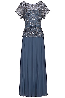 Light Blue Embroidered Gown by AGT by Amit GT
