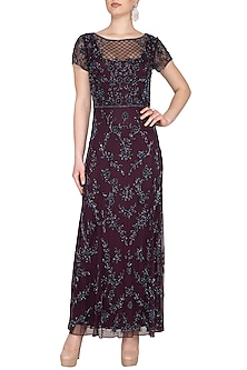 Maroon Embroidered Maxi Gown by AGT by Amit GT