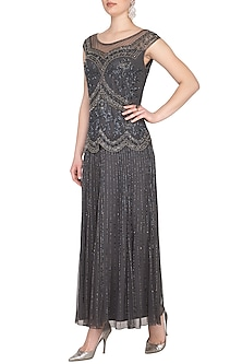 Grey Embroidered Maxi Gown by AGT by Amit GT