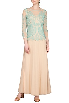 Peach Hand Embroidered Gown by AGT by Amit GT
