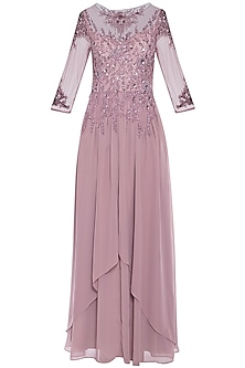 Lavender embroidered gown by AGT BY AMIT GT