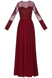Maroon embellished gown