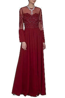 Maroon embellished gown by AGT BY AMIT GT