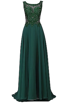 Emerald Green Embellished Flared Gown