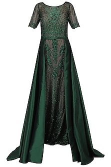 Emerald Green Layered Embellished Gown