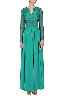 Turquoise Embroidered Maxi Dress by AGT By Amit GT