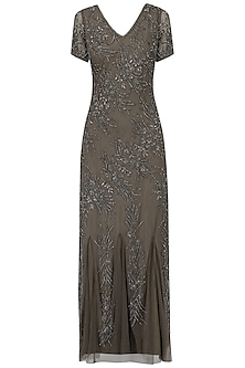 Grey Heavy Beaded Gown by AGT By Amit GT