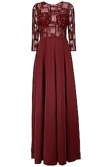 Maroon Spade Line Embroidery Gown