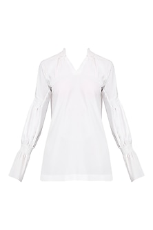 White Pleated Tunic Top