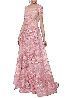 Rose Pink Embroidered Gown by AGT By Amit GT