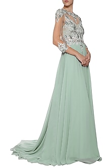 Sea Green Embroidered Gown by AGT By Amit GT