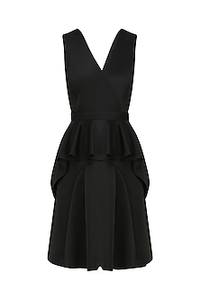Black Structure Peplum Dress