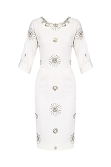 Off White Embellished Motifs Knee Length Dress by AGT By Amit GT
