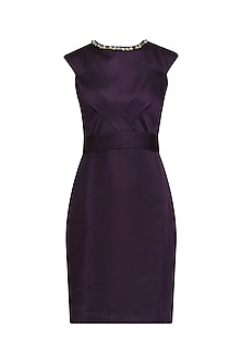 Purple Stone Embellished Knee Length Dress by AGT By Amit GT