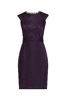 Purple Stone Embellished Knee Length Dress