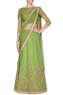Green and Gold Embroidered Lehenga Set by AGT By Amit GT