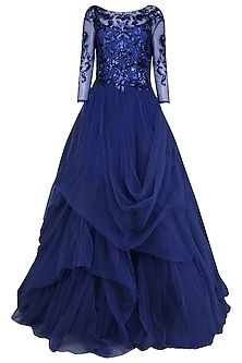 Persian Blue Embroidered Ball Gown by AGT By Amit GT