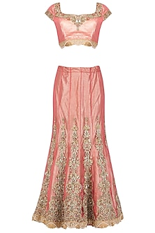 Rasberry Pink Embroidered Shimmer Lehenga Set