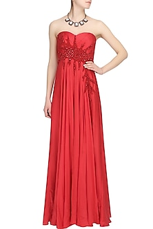 Bright red crystal embellished flared trail gown by AGT By Amit GT