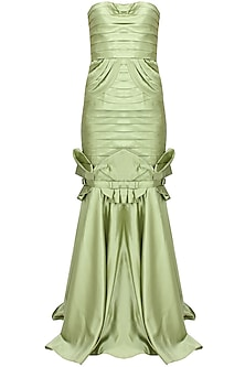 Green pleated bowtie mermaid gown