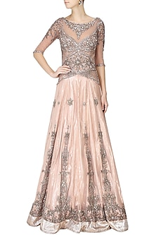 Powder pink crystal embellsihed lehenga gown by AGT By Amit GT