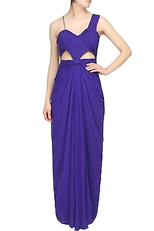 Purple peekaboo cutout with knot over waist gown by AGT By Amit GT
