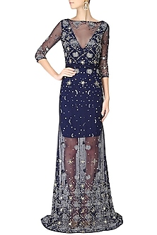 Navy blue beads and sequins embellished flared gown by AGT By Amit GT