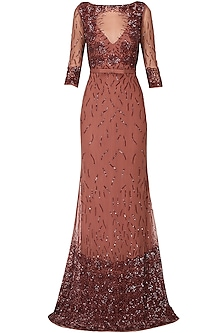 Mahogany sequins embroidered rose motifs gown by AGT By Amit GT
