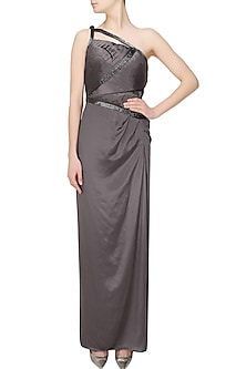 Drak grey cutdana embellished one shoulder gown by AGT By Amit GT