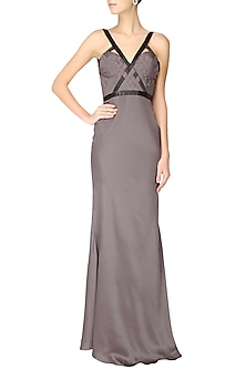 Light grey pleated cutdana embellished short trail gown by AGT By Amit GT