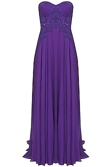 Purple beads and sequind embroidered flowy gown