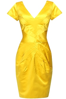Canary yellow radiating pleated dress
