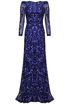 Blue sequins embriodered floor length gown